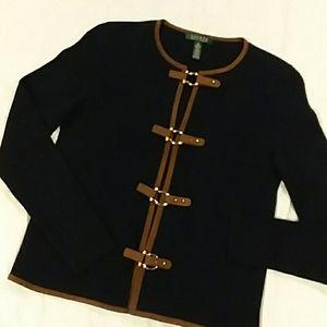 Lauren by ralph lauren navy blue buckle sweater